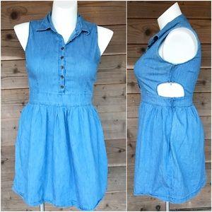 Dots 100% Cotton Side Cutout Denim Dress Size Lg